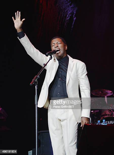 Recording artist/producer Kenneth 'Babyface[' Edmonds perfoms onstage during the Soul Train Weekend Concert 2015 at the Mandalay Bay Events Center on...