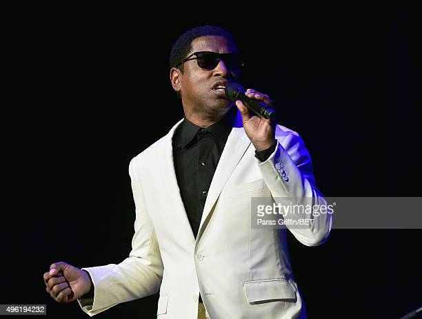 Recording artist/producer Kenneth 'Babyface' Edmonds perfoms onstage during the Soul Train Weekend Concert 2015 at the Mandalay Bay Events Center on...