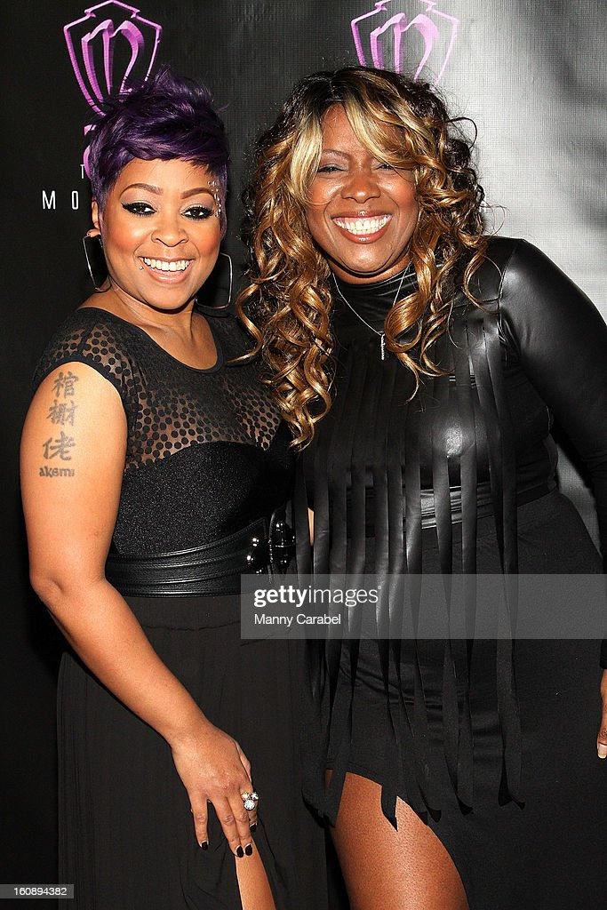 Recording Artist/R&B Diva Monifah Carter and R&B great Meli'sa Morgan attend Monifah's 'In Her Skin' Showcase at Katra Lounge on February 6, 2013 in New York City.