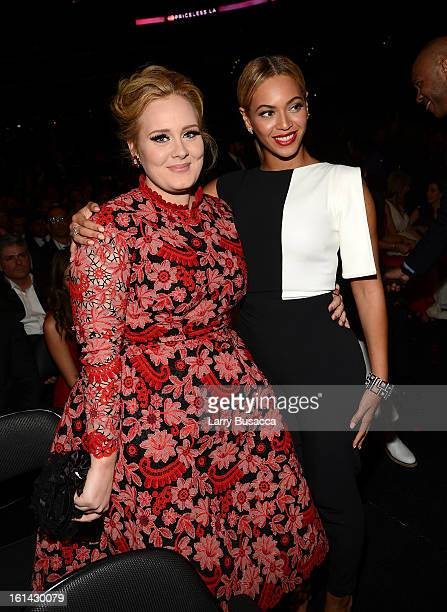 Recording artists Adele and Beyonce attend the 55th Annual GRAMMY Awards at STAPLES Center on February 10 2013 in Los Angeles California