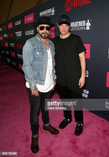 Recording artists AJ McLean and Nick Carter arrived on TMobile's magenta carpet duirng the Showtime WME IME and Mayweather Promotions VIP PreFight...