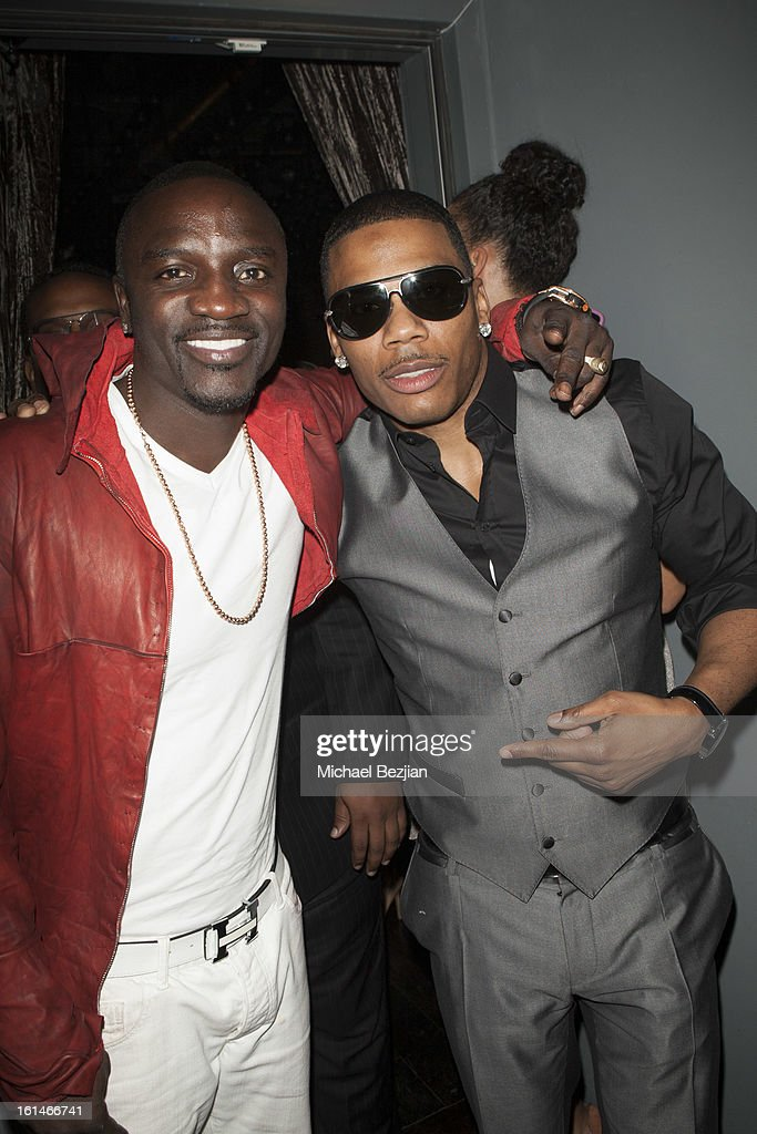 Recording Artists Akon and <a gi-track='captionPersonalityLinkClicked' href=/galleries/search?phrase=Nelly+-+Cantante+de+rap&family=editorial&specificpeople=11499081 ng-click='$event.stopPropagation()'>Nelly</a> attend Republic Records Post Grammy Party at The Emerson Theatre on February 10, 2013 in Hollywood, California.