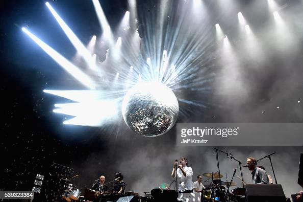 Recording artists Al Doyle Nancy Whang James Murphy and Pat Mahoney of LCD Soundsystem perform onstage at What Stage during Day 2 of the 2016...