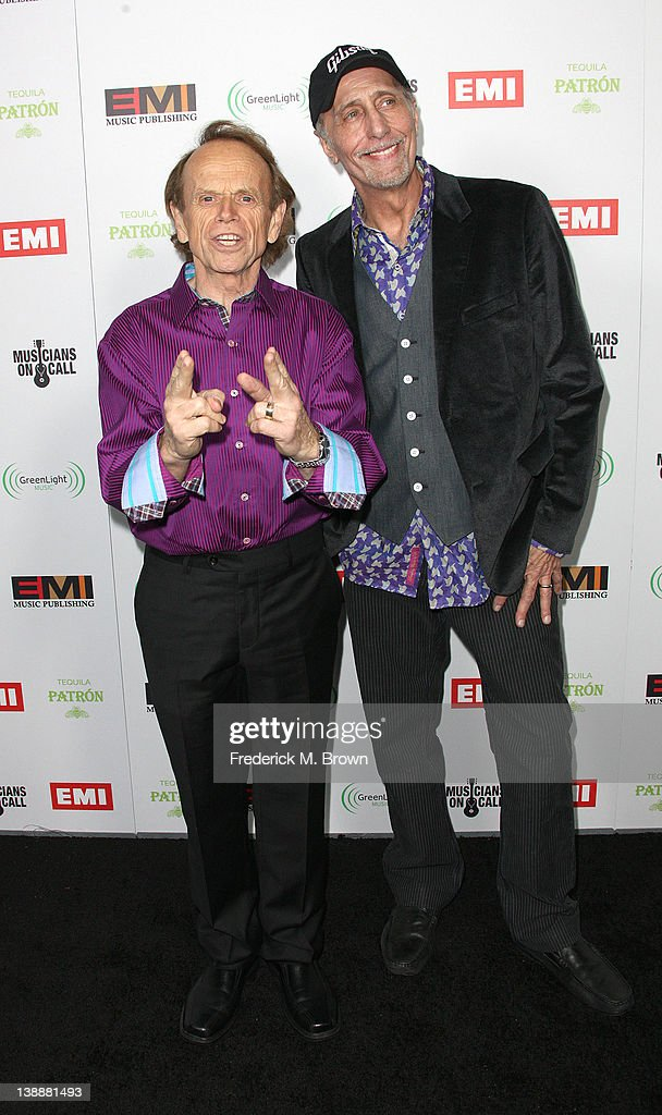 Recording artists <a gi-track='captionPersonalityLinkClicked' href=/galleries/search?phrase=Al+Jardine&family=editorial&specificpeople=224030 ng-click='$event.stopPropagation()'>Al Jardine</a> (L) and David Marks attend the EMI GRAMMY After Party at the Capital Records Building on February 12, 2012 in Hollywood, California.