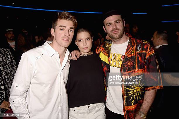 Recording artists Alex Pall Andrew Taggart winners of the award for Favorite EDM Group pose with Halsey in the press room during the 2016 American...