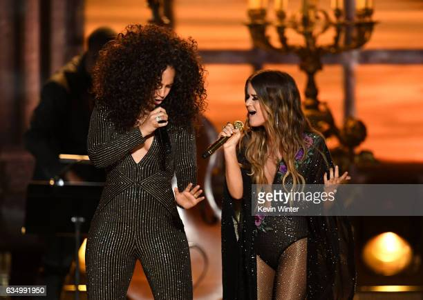 Recording artists Alicia Keys and Maren Morris perform onstage during The 59th GRAMMY Awards at STAPLES Center on February 12 2017 in Los Angeles...