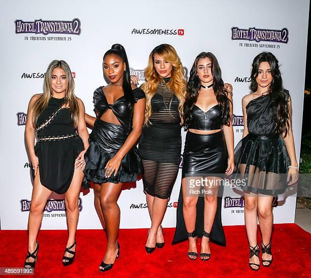 Recording artists Ally Brooke Normani Hamilton DinahJane Hansen Lauren Jauregui and Camila Cabello of Fifth Harmony arrive at a 'Hotel Transylvania...