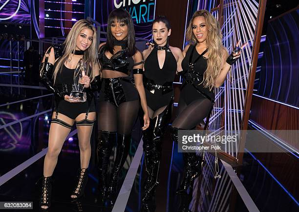 Recording artists Ally Brooke Normani Kordei Lauren Jauregui and Dinah Jane of music group Fifth Harmony winners of the Favorite Group award pose...