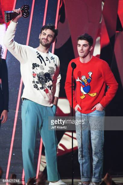 Recording artists Andrew Taggart and Alex Pall of the Chainsmokers accept the award for Best New Artist onstage at the 2017 iHeartRadio Music Awards...