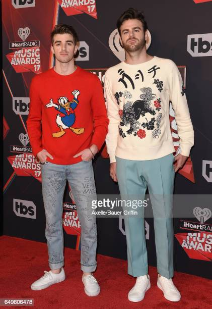 Recording artists Andrew Taggart and Alex Pall of The Chainsmokers arrive at the 2017 iHeartRadio Music Awards at The Forum on March 5 2017 in...