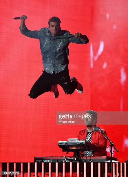 Recording artists Andrew Taggart and Alex Pall of The Chainsmokers perform during the 2017 Billboard Music Awards at TMobile Arena on May 21 2017 in...