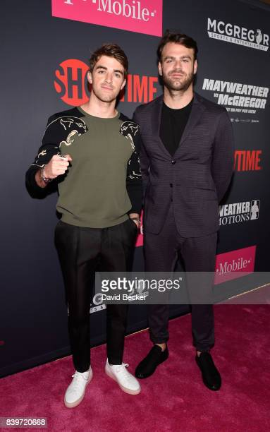 Recording Artists Andrew Taggart and Alex Pall of The Chainsmokers arrive on TMobile's magenta carpet duirng the Showtime WME IME and Mayweather...