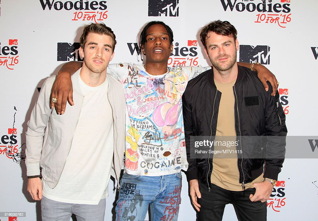 Recording artists Andrew Taggart (L) of The Chainsmokers, ASAP Rocky and Alex Pall of The Chainsmokers attend the 2016 MTV Woodies/10 For 16 on March 16, 2016 in Austin, Texas.