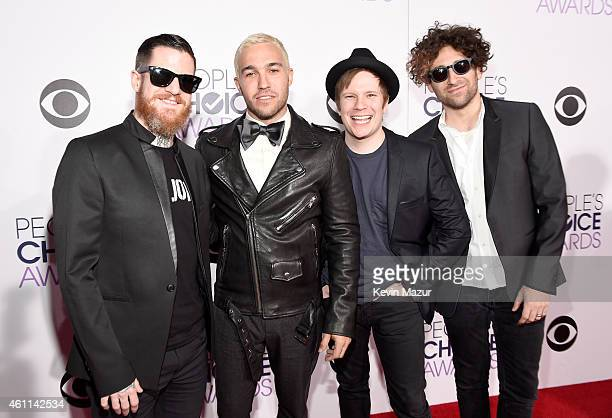 Recording artists Andy Hurley Peter Wentz Patrick Stump and Joe Trohman of music group Fall Out Boy attend The 41st Annual People's Choice Awards at...