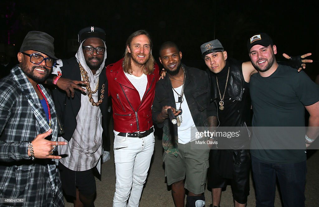Recording artists apldeap william of The Black Eyed Peas DJ David Guetta singer Usher Taboo of The Black Eyed Peas and music manager Scooter Braun...