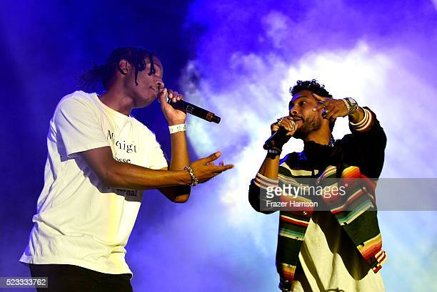 Recording artists ASAP Rocky and Miguel perform onstage during day 1 of the 2016 Coachella Valley Music Arts Festival Weekend 2 at the Empire Polo...