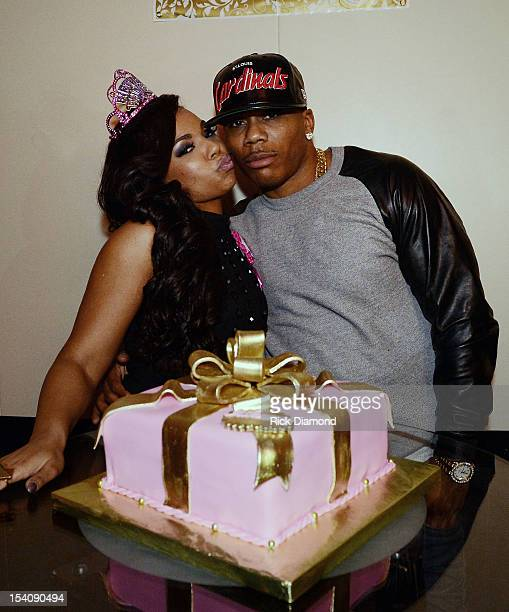 Recording Artists Ashanti and Nelly during Ashanti's surprise birthday dinner hosted by Nelly at STK on October 13 2012 in Atlanta Georgia