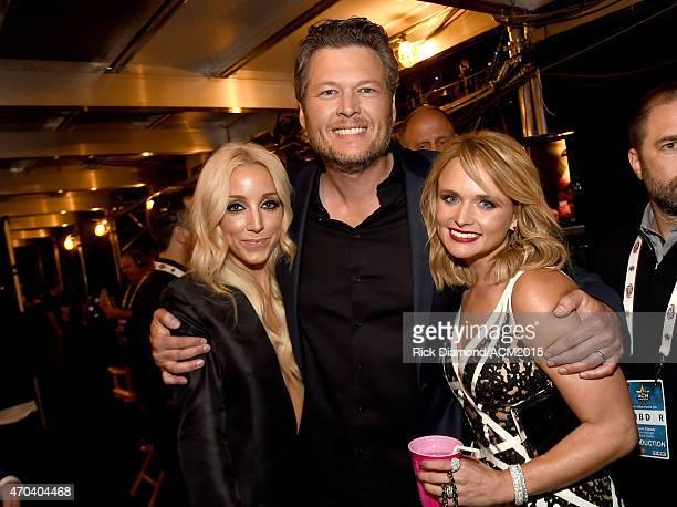 Recording artists Ashley Monroe Blake Shelton and Miranda Lambert attend the 50th Academy of Country Music Awards at ATT Stadium on April 19 2015 in...