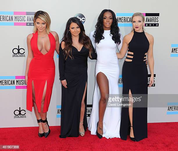 Recording artists Aubrey O'Day Andrea Fimbres Dawn Richards and Shannon Bex of Danity Kane attend the 2013 American Music Awards at Nokia Theatre LA...