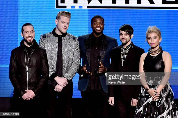 Recording artists Avi Kaplan Scott Hoying Kevin Olusola Mitch Grassi and Kirstie Maldonado of music group Pentatonix speak onstage at the 2014...
