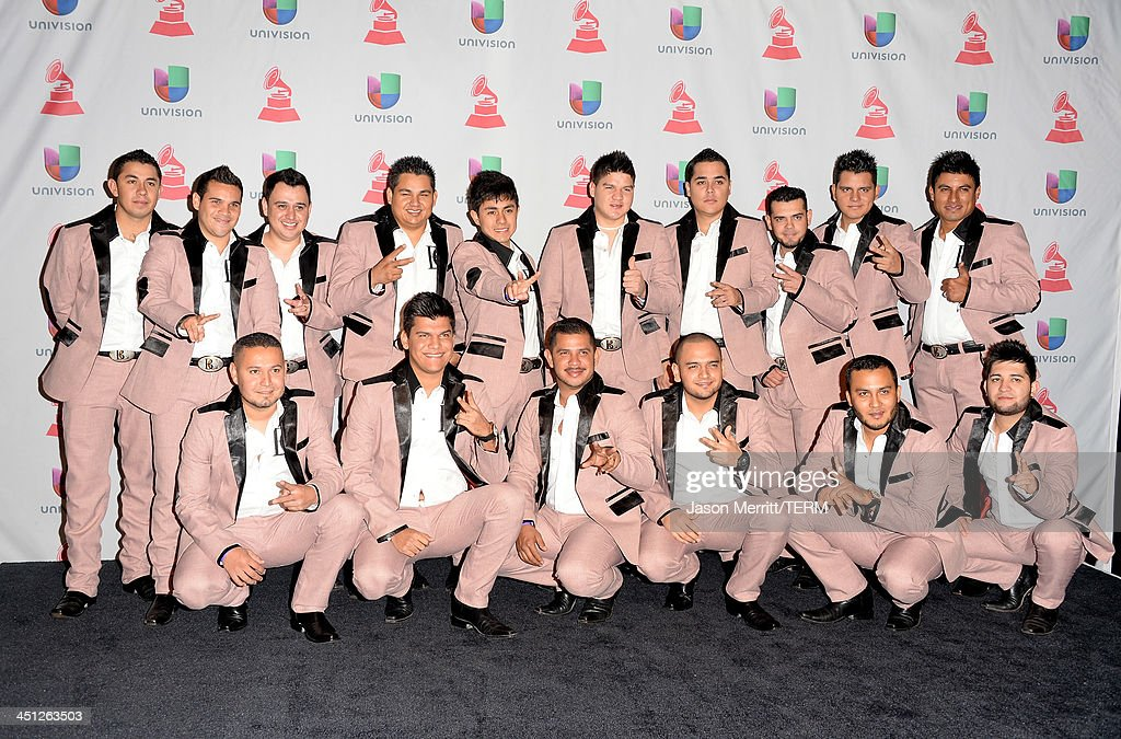 Recording artists Banda Carnaval pose in the press room at the 14th Annual Latin GRAMMY Awards held at the Mandalay Bay Events Center on November 21, 2013 in Las Vegas, Nevada.