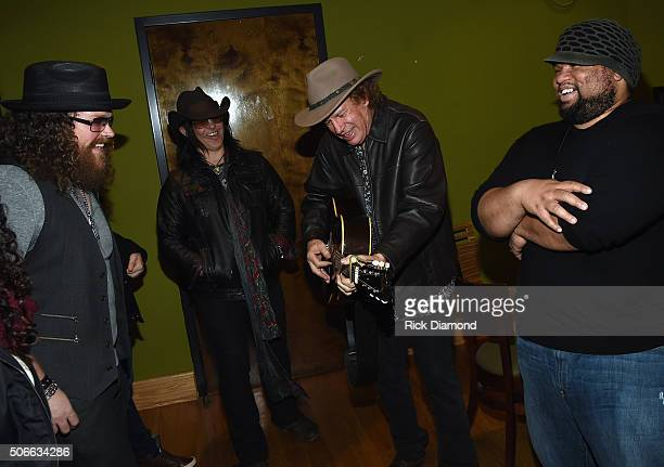 Recording Artists Bart Walker Mike Farris Jimmy Hall and Jordan Hymon backstage after Duane Allman Tribute at City Winery Nashville on January 23...