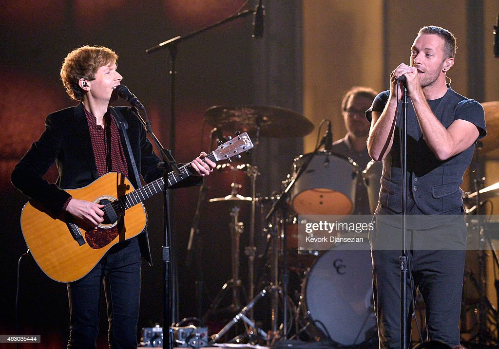 Recording artists Beck and Chris Martin perform 'Heart Is a Drum' onstage during The 57th Annual GRAMMY Awards at the at the STAPLES Center on...