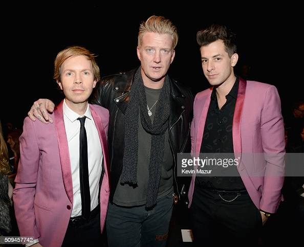 Recording artists Beck Josh Homme and Mark Ronson in Saint Laurent by Hedi Slimane attend Saint Laurent at the Palladium on February 10 2016 in Los...