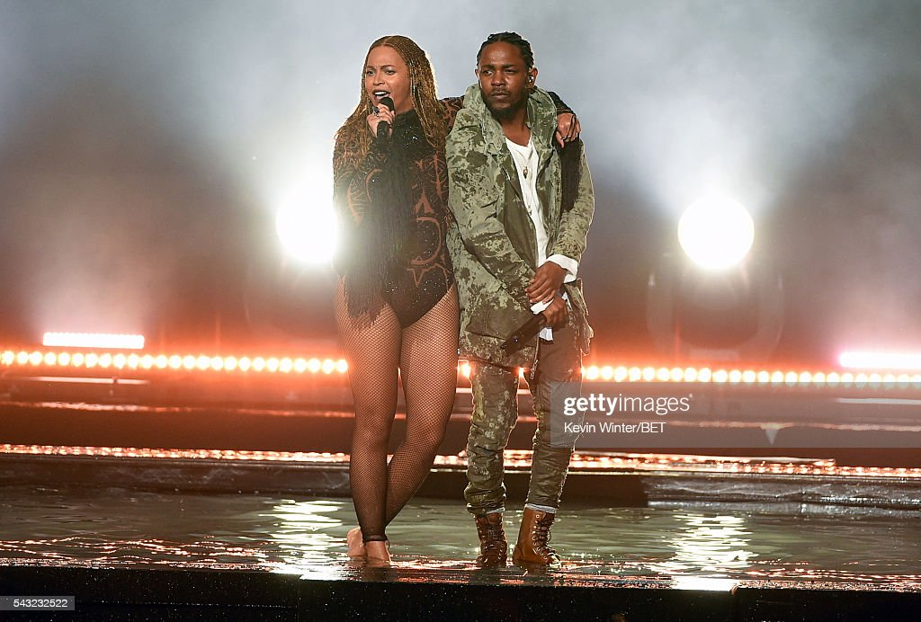 Recording artists Beyonce (L) and <a gi-track='captionPersonalityLinkClicked' href=/galleries/search?phrase=Kendrick+Lamar&family=editorial&specificpeople=8012417 ng-click='$event.stopPropagation()'>Kendrick Lamar</a> perform onstage during the 2016 BET Awards at the Microsoft Theater on June 26, 2016 in Los Angeles, California.