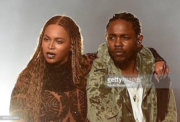 Recording artists Beyonce and Kendrick Lamar perform onstage during the 2016 BET Awards at the Microsoft Theater on June 26 2016 in Los Angeles...