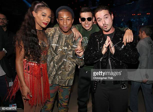Recording artists Bianca Landrau aka Bia Pharrell Williams Sky and J Balvin pose backstage at The 17th Annual Latin Grammy Awards at TMobile Arena on...