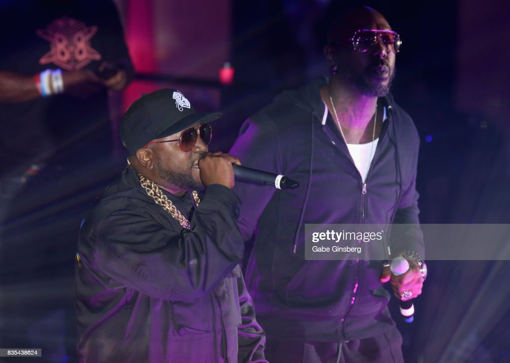 Recording artists Big Boi (L) and Sleepy Brown perform at Drai's Beach Club - Nightclub at The Cromwell Las Vegas on August 19, 2017 in Las Vegas, Nevada.