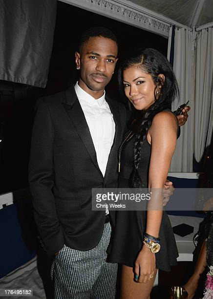 Recording artists Big Sean and Jhene Aiko attend Moet Rose Lounge Los Angeles hosted by Big Sean at The London West Hollywood on August 13 2013 in...