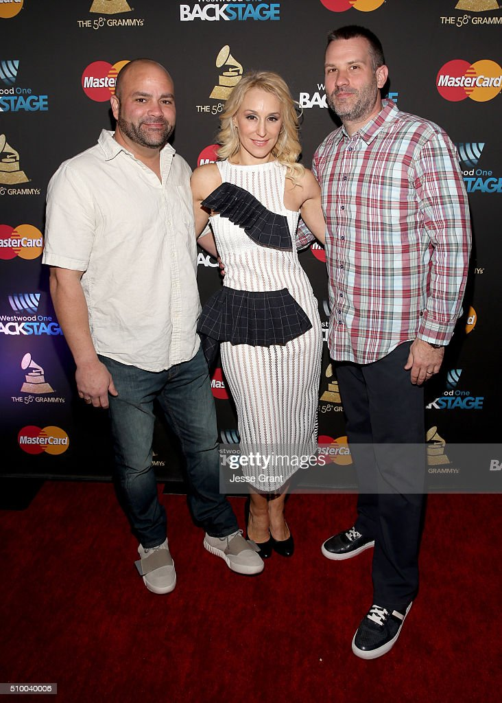 Recording artists Bill Hamel (L) and Chad Newbold of Fatum with singer Jes Brieden aka JES (C) attend the Westwood One Radio Remotes during The 58th GRAMMY Awards at Staples Center on February 13, 2016 in Los Angeles, California.