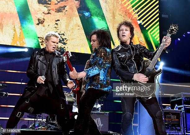 Recording artists Billy Idol Steve Stevens and Billy Morrison perform onstage during the first ever iHeart80s Party at The Forum on February 20 2016...