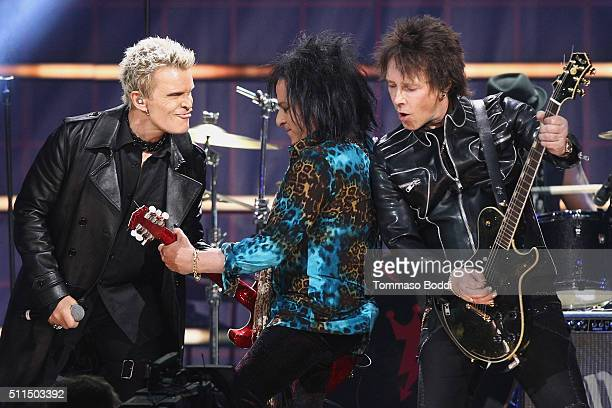 Recording artists Billy Idol Steve Stevens and Billy Morrison perform on stage during the iHeart80s Party 2016 at The Forum on February 20 2016 in...