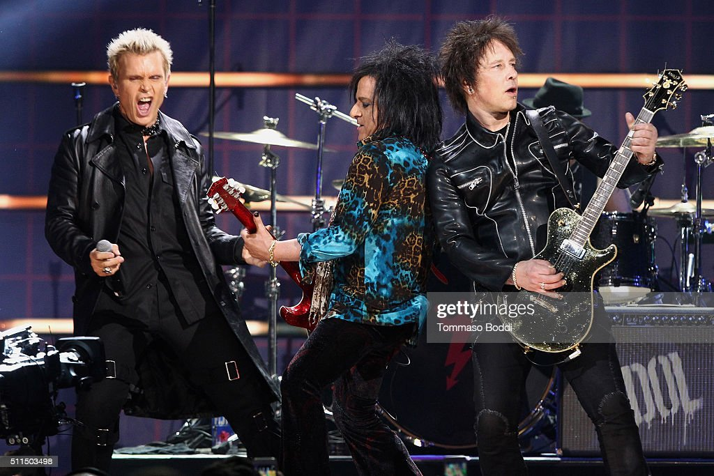 Recording artists Billy Idol, Steve Stevens, and Billy Morrison perform on stage during the iHeart80s Party 2016 at The Forum on February 20, 2016 in Inglewood, California.
