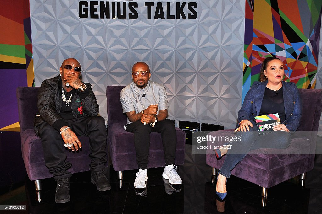 Recording artists Birdman and <a gi-track='captionPersonalityLinkClicked' href=/galleries/search?phrase=Jermaine+Dupri&family=editorial&specificpeople=201712 ng-click='$event.stopPropagation()'>Jermaine Dupri</a>, and radio personality <a gi-track='captionPersonalityLinkClicked' href=/galleries/search?phrase=Angie+Martinez&family=editorial&specificpeople=664057 ng-click='$event.stopPropagation()'>Angie Martinez</a> speak during the Genius Talks sponsored by AT&T during the 2016 BET Experience on June 25, 2016 in Los Angeles, California.