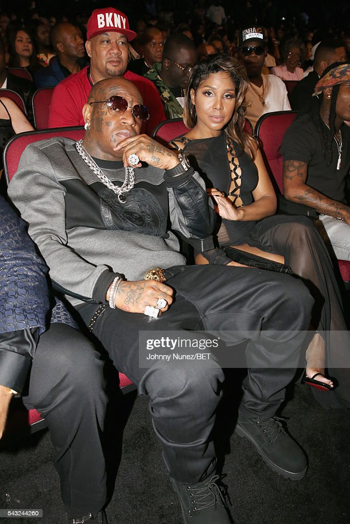 Recording artists Birdman (L) and <a gi-track='captionPersonalityLinkClicked' href=/galleries/search?phrase=Toni+Braxton&family=editorial&specificpeople=213737 ng-click='$event.stopPropagation()'>Toni Braxton</a> attend the 2016 BET Awards at the Microsoft Theater on June 26, 2016 in Los Angeles, California.