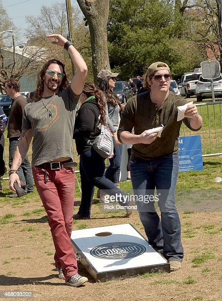 Recording Artists Blackjack Billy's member Jeff Coplan and Singer/Songwriter Jerrod Niemann during the 3rd Annual Craig Campbell Celebrity Cornhole...