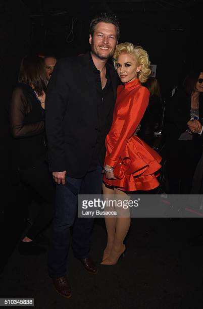 Recording artists Blake Shelton and Gwen Stefani attend the 2016 PreGRAMMY Gala and Salute to Industry Icons honoring Irving Azoff at The Beverly...