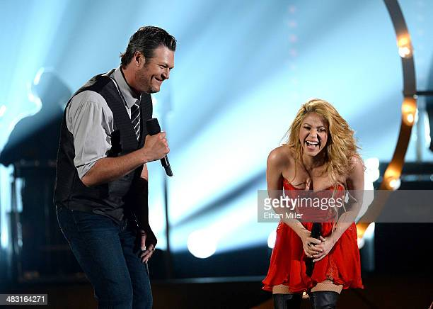 Recording artists Blake Shelton and Shakira perform onstage during the 49th Annual Academy of Country Music Awards at the MGM Grand Garden Arena on...