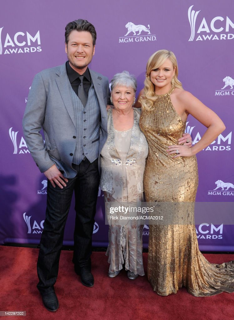 Recording artists <a gi-track='captionPersonalityLinkClicked' href=/galleries/search?phrase=Blake+Shelton&family=editorial&specificpeople=2352026 ng-click='$event.stopPropagation()'>Blake Shelton</a>, Lambert's grandmother and <a gi-track='captionPersonalityLinkClicked' href=/galleries/search?phrase=Miranda+Lambert&family=editorial&specificpeople=571972 ng-click='$event.stopPropagation()'>Miranda Lambert</a> arrive at the 47th Annual Academy Of Country Music Awards held at the MGM Grand Garden Arena on April 1, 2012 in Las Vegas, Nevada.