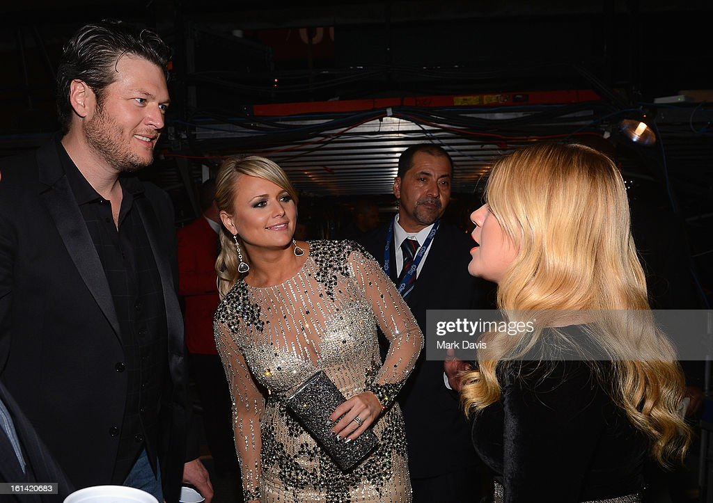 Recording Artists Blake Shelton, Miranda Lambert and Kelly Clarkson attend the 55th Annual GRAMMY Awards at STAPLES Center on February 10, 2013 in Los Angeles, California.