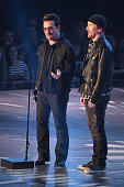 Recording artists Bono and The Edge of U2 accept the 'Innovator Award' onstage at the iHeartRadio Music Awards which broadcasted live on TBS TNT AND...