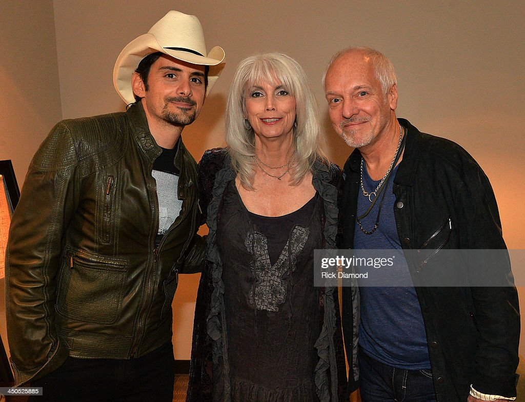 Recording Artists <a gi-track='captionPersonalityLinkClicked' href=/galleries/search?phrase=Brad+Paisley&family=editorial&specificpeople=206616 ng-click='$event.stopPropagation()'>Brad Paisley</a>, <a gi-track='captionPersonalityLinkClicked' href=/galleries/search?phrase=Emmylou+Harris&family=editorial&specificpeople=240263 ng-click='$event.stopPropagation()'>Emmylou Harris</a> and <a gi-track='captionPersonalityLinkClicked' href=/galleries/search?phrase=Peter+Frampton&family=editorial&specificpeople=221428 ng-click='$event.stopPropagation()'>Peter Frampton</a> backstage at the CMA Theater on November 18, 2013 in Nashville, Tennessee. Skaggs was recently announced as the Country Music Hall of Fame and Museum's 2013 Artist-in-Residence.