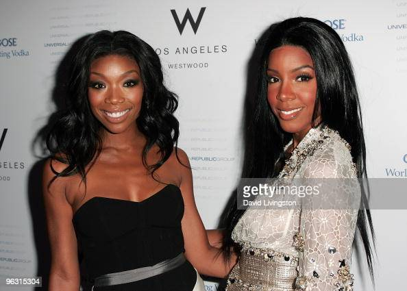 Recording artists Brandy and Kelly Rowland attend the Universal Motown Republic Group's GRAMMY Nominee 2010 Cocktail Party at W Los Angeles Westwood...