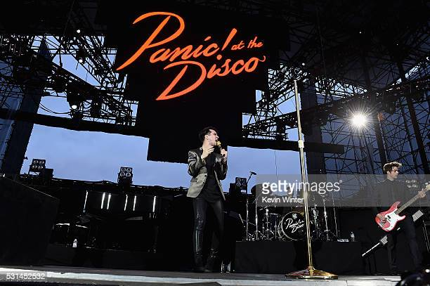 Recording artists Brendon Urie Dan Pawlovich and Dallon Weekes of music group Panic at the Disco performs onstage at KROQ Weenie Roast 2016 at Irvine...