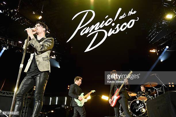 Recording artists Brendon Urie Nathan Willett Dallon Weekes and Daniel Pawlovich of music group Panic at the Disco perform onstage at KROQ Weenie...