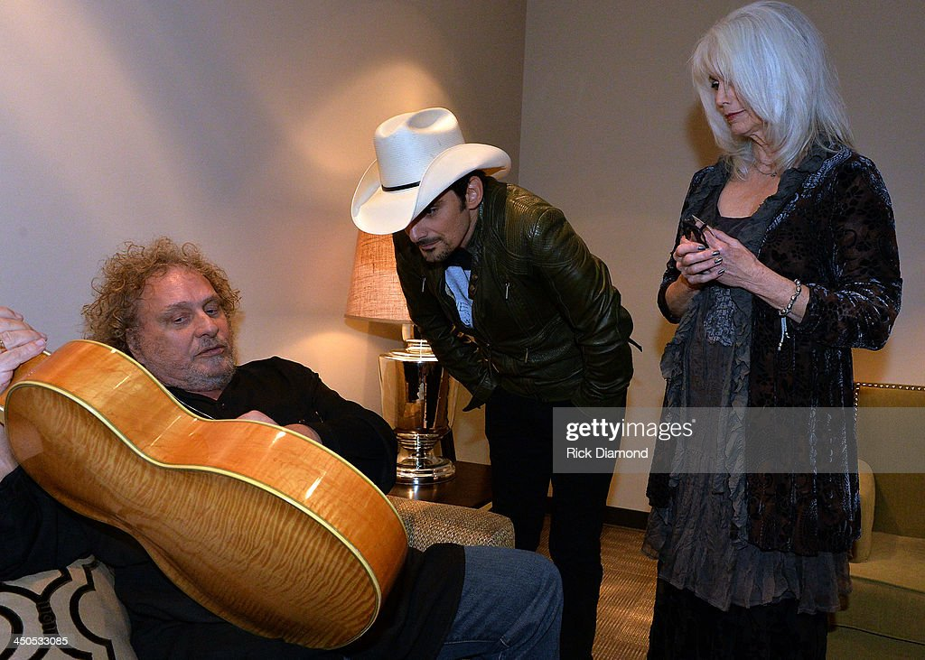 Recording Artists Brian Ahern, Brad Paisley, Emmylou Harris and Peter Frampton backstage at the CMA Theater on November 18, 2013 in Nashville, Tennessee. Skaggs was recently announced as the Country Music Hall of Fame and Museum's 2013 Artist-in-Residence.